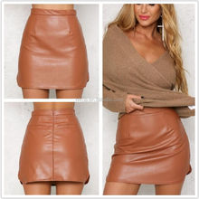 Wholesale In Stock Fashion 3 Colors Plus Size Women Sexy Mini Short PU Leather Skirt
