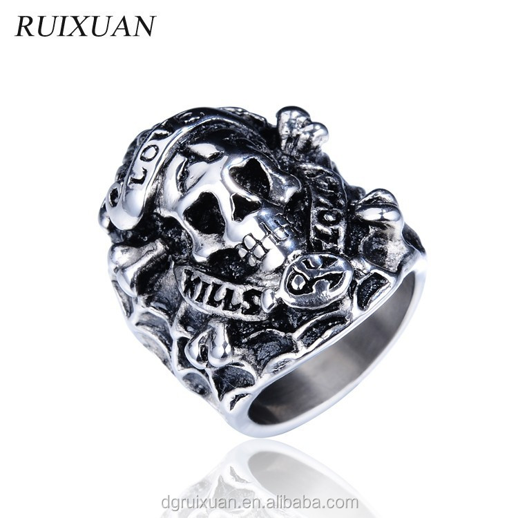 2015 fashion skull ring 316l stainless steel ring jewelry
