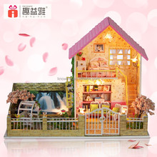 Handmade beautiful DIY wooden doll house with furniture for kid best birthday gift for girlfriend Cherry Fantasy
