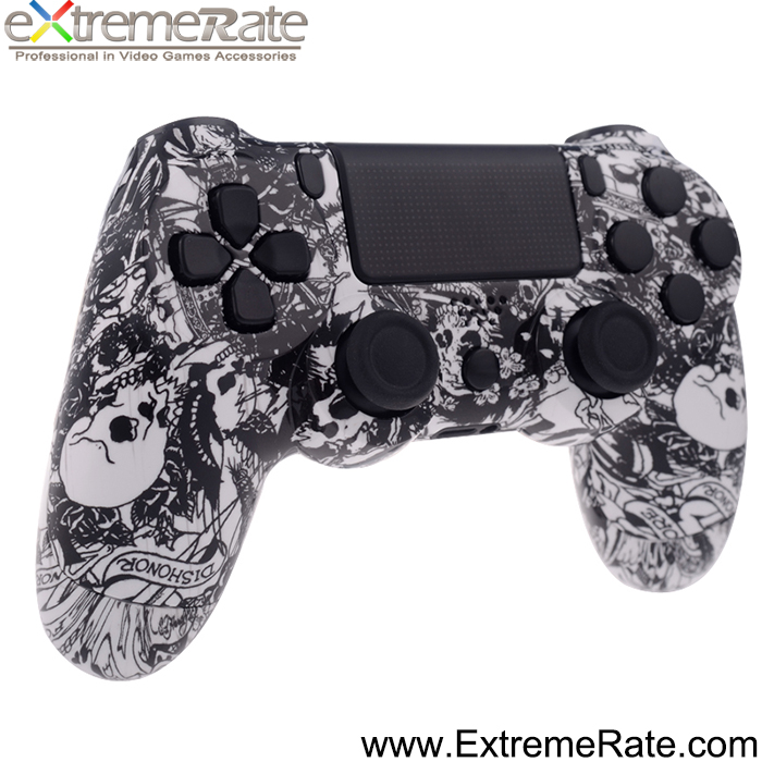 Hydro Dipped Grave White Skulls Game Controller Shell Replacement Housing for PS4 Controller