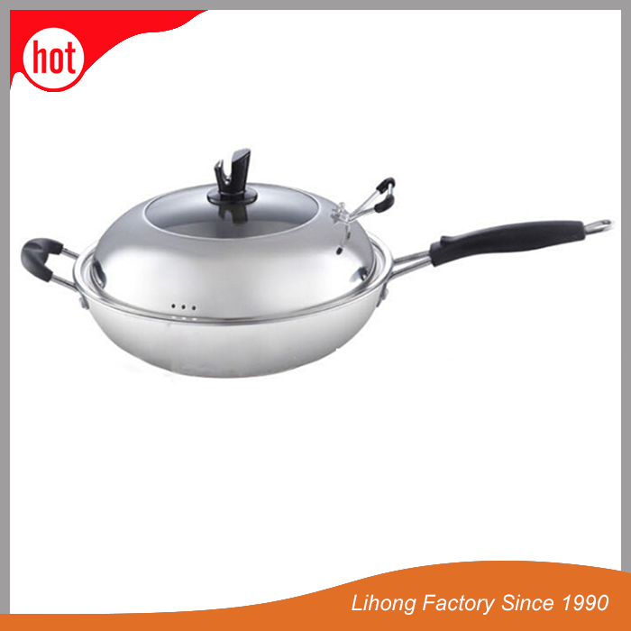 Factory Supplier The Three Layer Steel Thick Coating Stainless Steel Free Fly Pan
