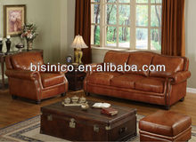 Modern leisure leather sofa chair with brass nail,genuine leather living room furniture,recliner sofa (BF01-20101)