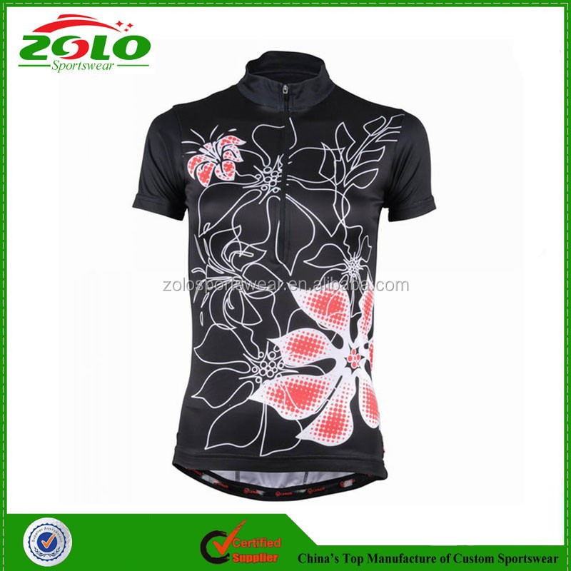 Cheap Price Women's Shorts Sleeve Custom Sublimation Printing Cycling Jerseys China Design 2014