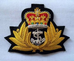leaf crown anchor pattern emblem gold embroidery bullion wire