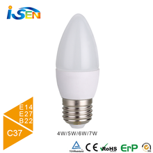 CE&RoHS certificated IC Driver small LED E14 E27 led bulb light 6W led candle light C37