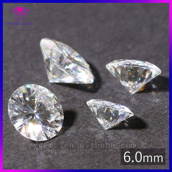new cutting wholesale round white VVS synthetic <strong>diamond</strong> 6mm pure moissanite