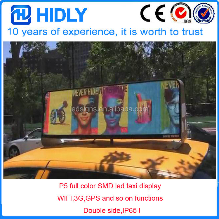 3G GPS WIFI P5 led advertising display for taxi