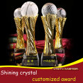 customized sport crystal trophy with metal part