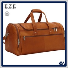 2017 fashion vintage genuine leather OEM custom best gym travel duffel bag for men