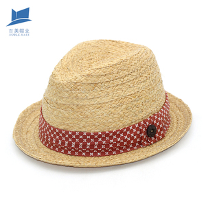 Popularity Summer Women Fedora Straw Hat Promotional Panama trilby summer straw hat