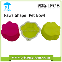 food grade cute popular red round with dog shape handle pet collapsable silicone dog bowls large dog feeders