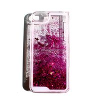 PC hard case crystal bling liquid phone case For iPhone 5, liquid glitter case cover for iphone series with red star pink sand