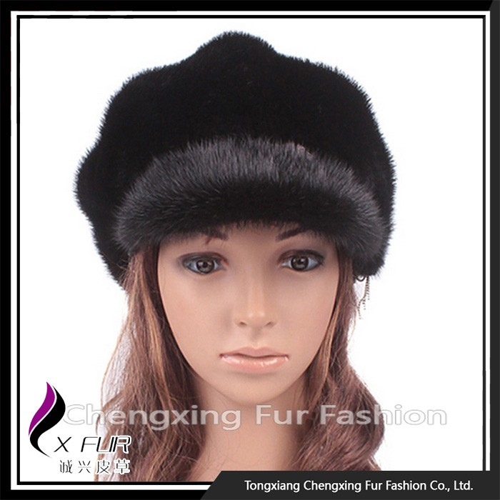 CX-C-01D Hot Sale Women Pure Fashion Mink Fur Cap