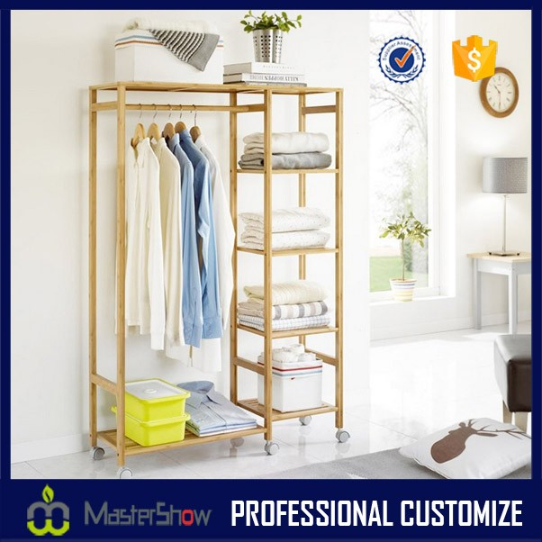 Creative household coatrack, ground hanging clothes wooden display rack