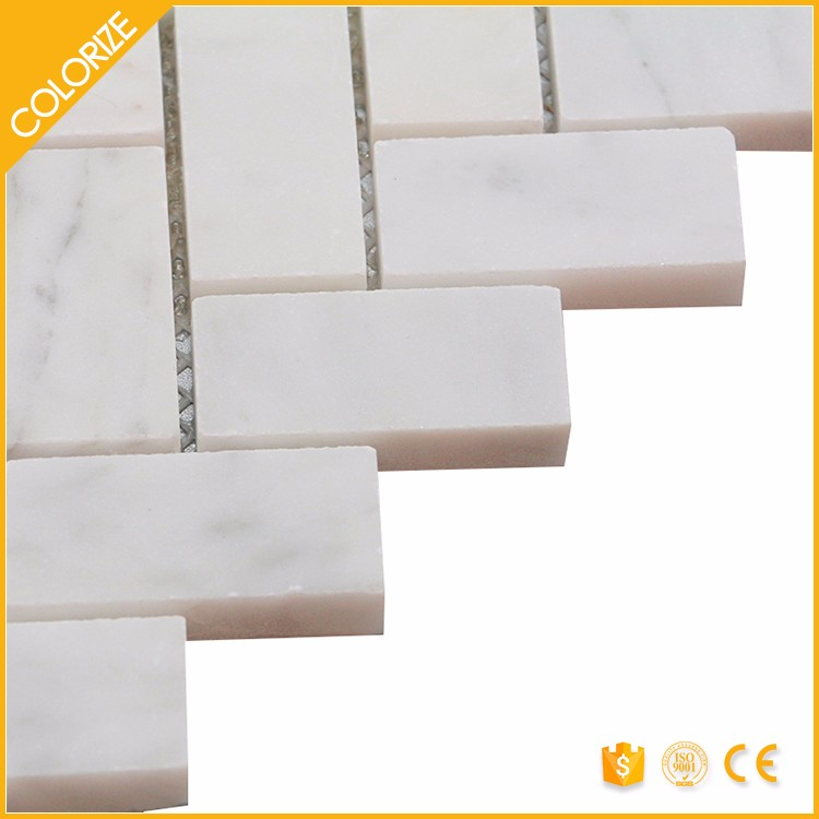 Mosaic White And Grey Tile Herringbone Marble Tile/Mosaic Chips Gold