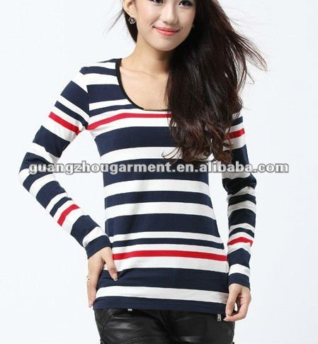 red white stripe long sleeve for women