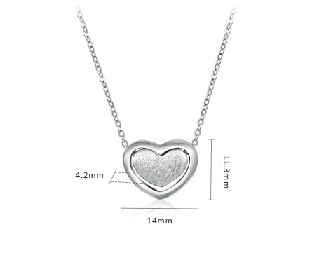 Top Grade 925 Pure Sterling Sliver Heart Style Pendant Necklace Two Colors