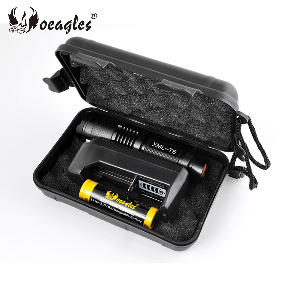 Oeagles White Light T6 Zoomable Mini LED Flashlight torch kit