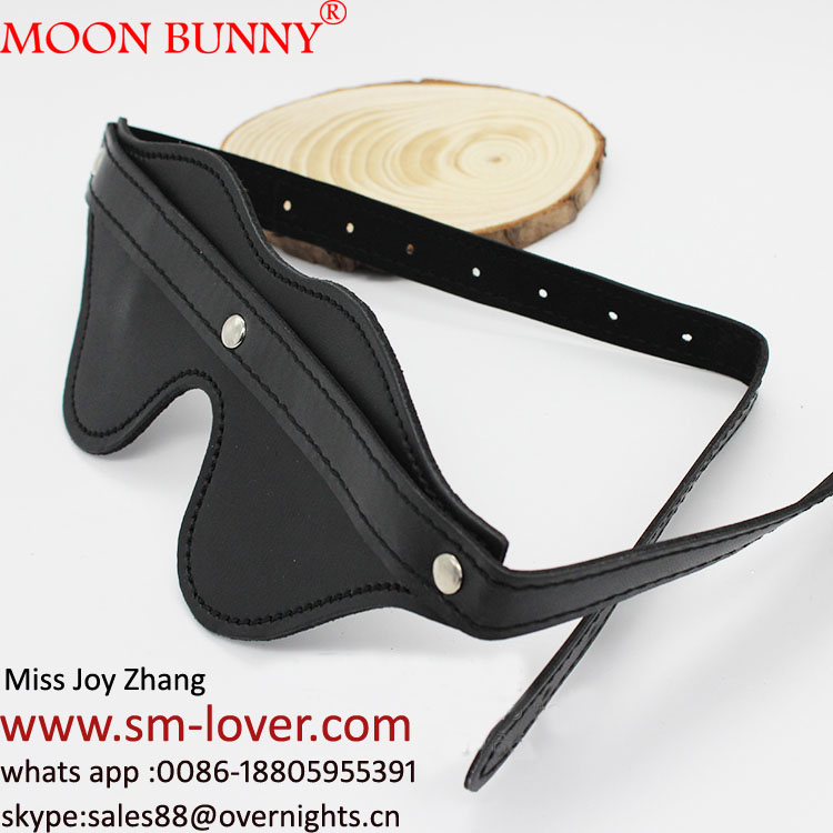 Black Pu Leather Eye Mask Blindfold Adult Sex Toys For Adults Games Bondage Tease Sex Aid Party Fun Sex Products