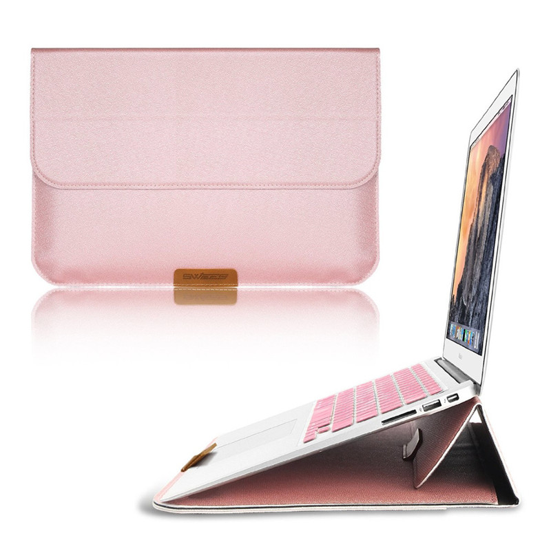 PU Leather Cover with rear pocket design Laptop Carrying Bag with Stand Function for Macbook Sleeve