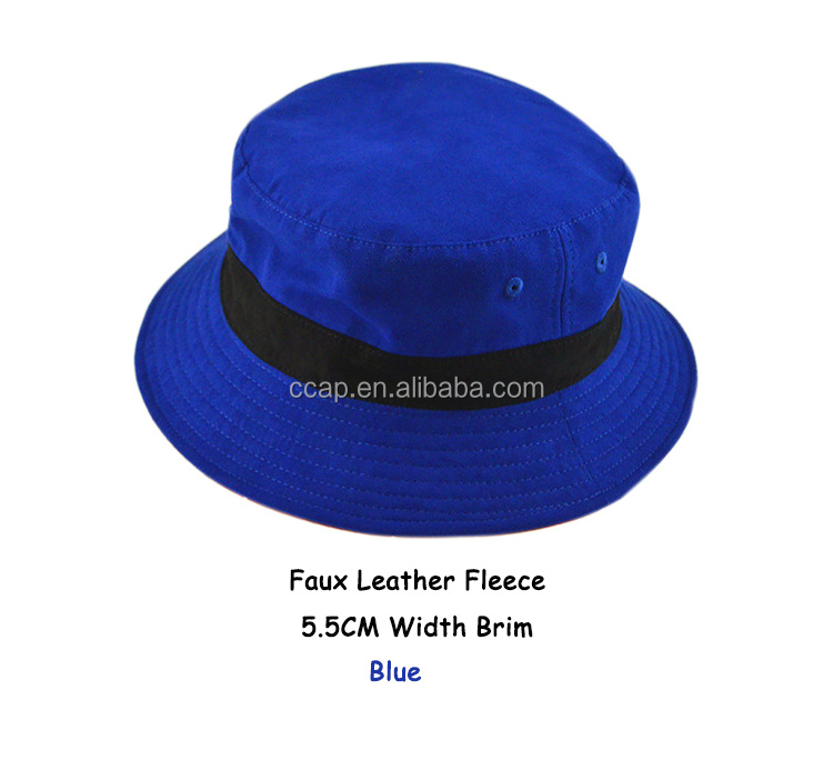 Custom Fancy High Quality Faux Leather Fleece Fishing Hat