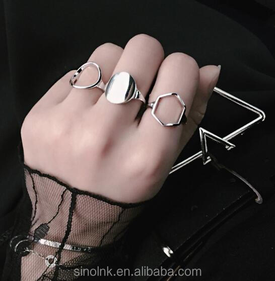 Alibaba Latest Gold Finger Ring Design 925 Sterling Silver Geometric Ring Jewelry Wholesale
