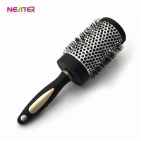 Top Hair Care Tool Salon Black Round Ceramic Hair Brush With Private Logo