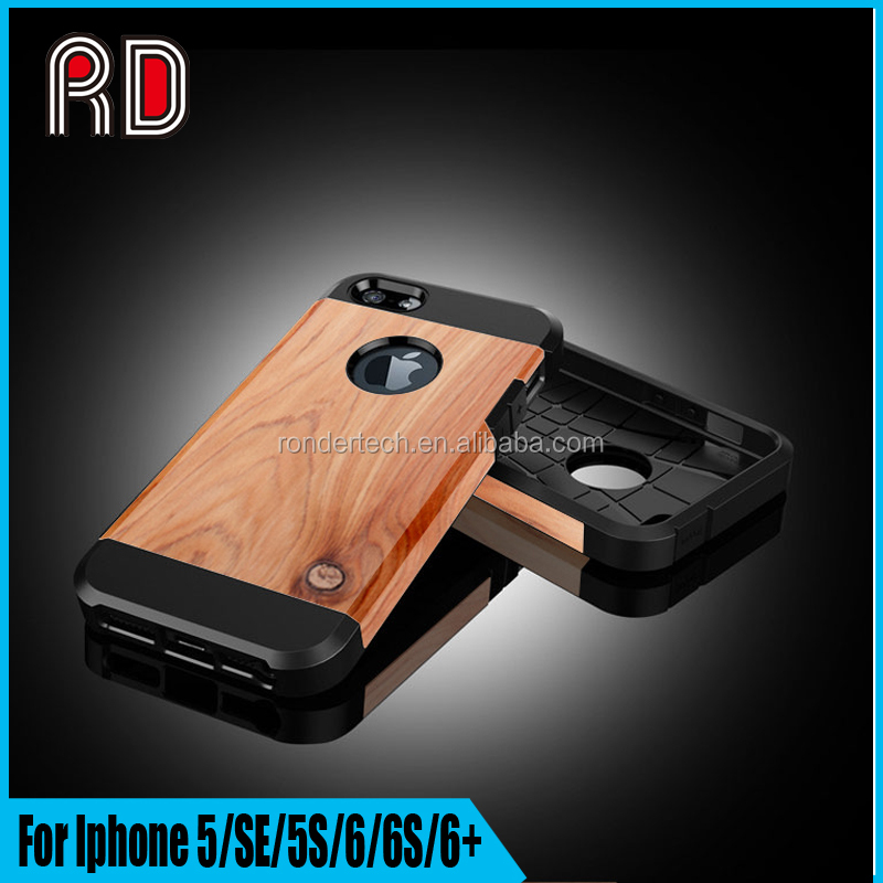 High quality Simulated Wood Durable Back Cover Case for Iphone 5/SE/5S/for Iphone 6/6s/6+ Bumper Case