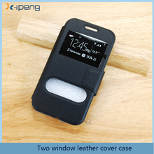 Durable two window view stand function pu leather flip mobile phone cover case for LG U/F820