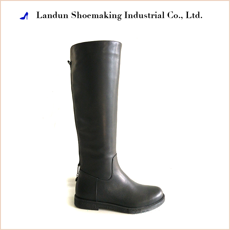 2017 women fashion leather winter knee length boots made in chengdu