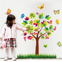 Colorcasa removable wall sticker PVC wall paper ZYPB7114 tree&butterflies 3D wall sticker art home decor for nursery room