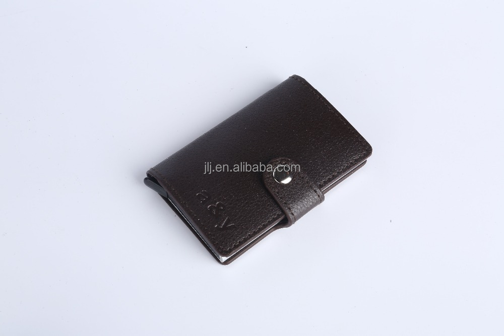 Hot push light automatic card case aluminum metal card wallet