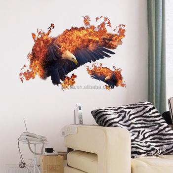 PVC New design Eagle wall stickers bedroom living room decorative removable clear waterproof flying eagle wall stickers hot sale