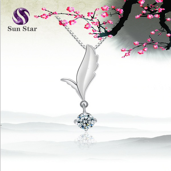 Fashion necklace jewelry leaf shape diamond <strong>pendant</strong>