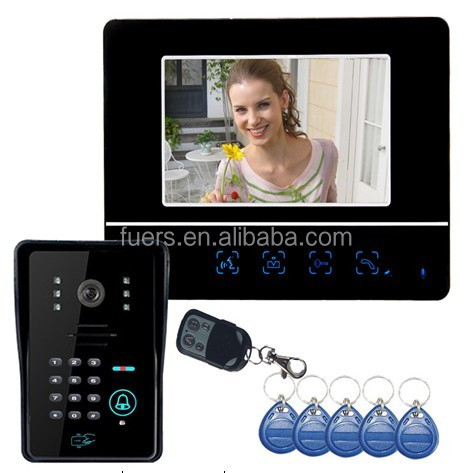 7 inch video door phone with RFID keyfobs video doorbell camera wired doorbell system