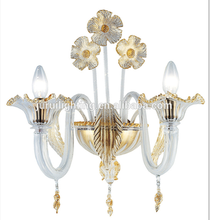 Luxurious crystal wall lamp polished gold wall light royal 2 light arms crystal wall lighting