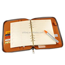 Promotional A4 A5 A6 spiral notebook/loose-leaf leather portfolio