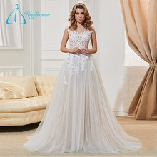 Lace Appliques Button Tulle Ivory Princess Wedding Dress