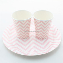 Supplier of Lovely Wedding Pink Chevron Paper Plates and Paper Drinking Cups
