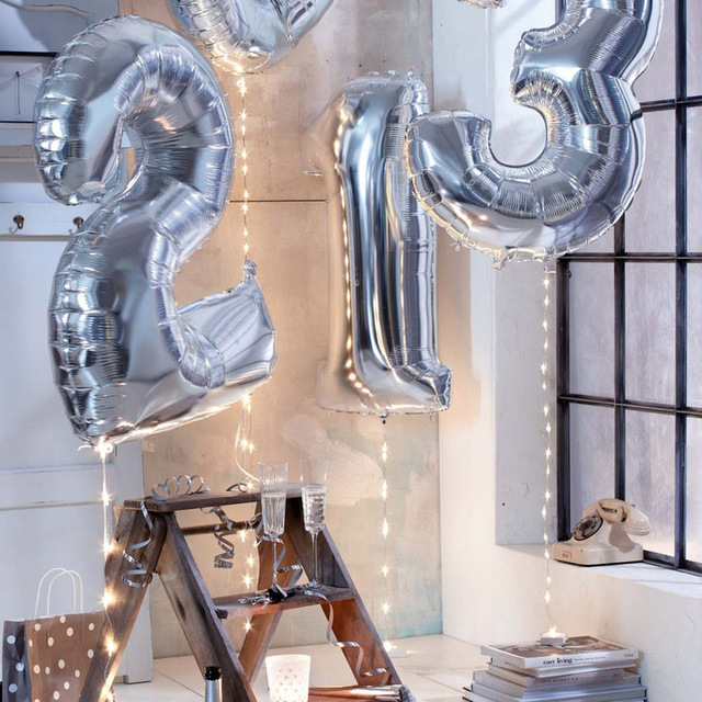 40 Inch Silver Digital Aluminum 0-9 Big Balloons Party Decoration Wedding Supplies Happy Birthday Decoration