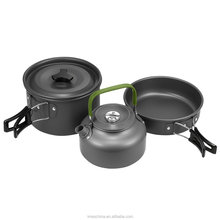 Outdoor Camping Cookware Mess Kit Nonstick & Lightweight Pots & Pans with Mesh Set Bag for Backpacking, Hiking, Picnic