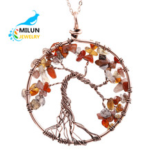 Custom Gemstone Jewelry Life Tree Natural Stone Copper pendant <strong>Necklace</strong> women