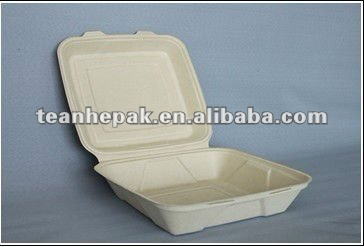 disposable biodegradable paper pulp plant fiber wheat straw takeout food container 9 inch large box
