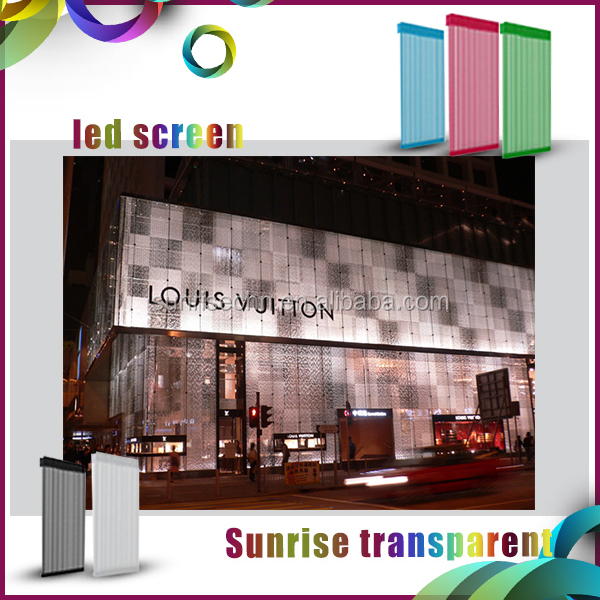 image moving led display electronics Transparent mesh led display