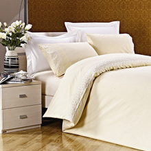 KOSMOS hot sale bed linen high quality 100% cotton hand work bed sheet design