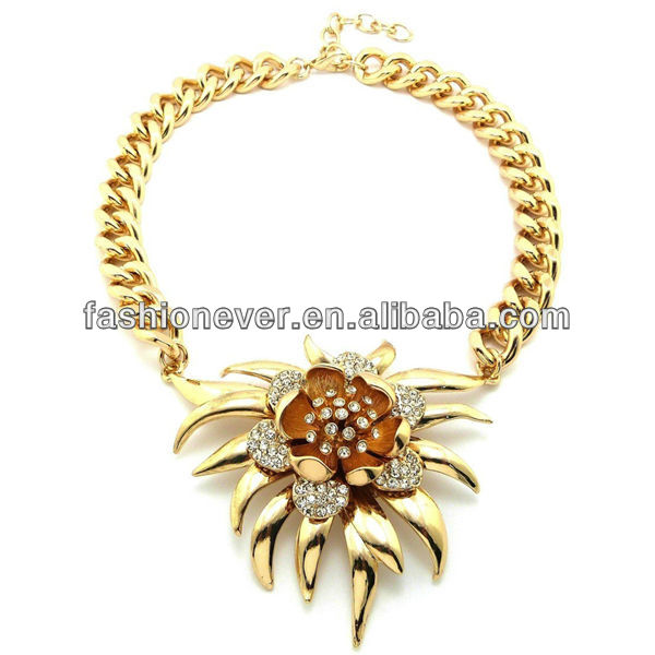 "New Celebrity Style Iced Out FLOWER Pendant 15mm/16"" Link Chain Necklace"
