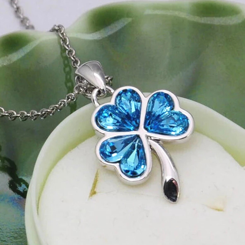 Wholesale 925 sterling silver jewelry Clover Crystal charm pendant for women