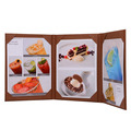 Restaurant menu holder new design leather 3 panel cardboard menu covers