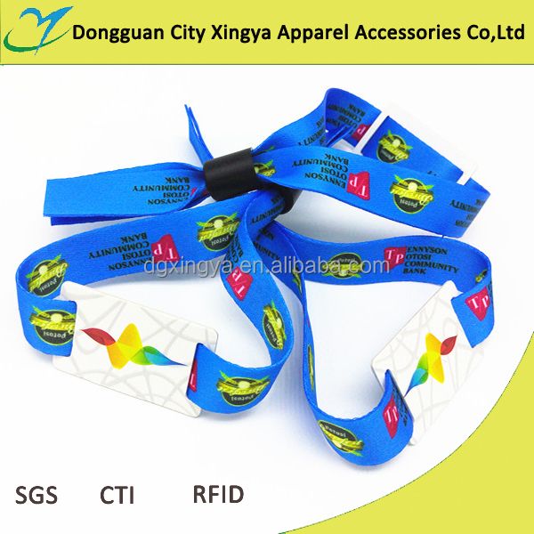 cheap custom one-off woven lable id rfid wristbands for event