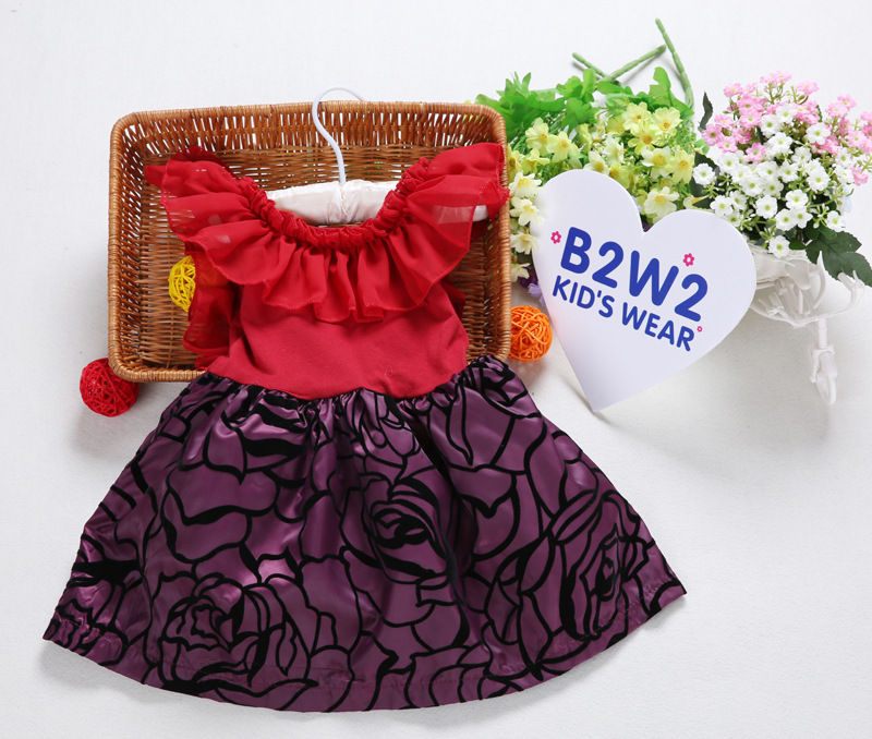 Bright lace collar baby dress evening dress for baby girl